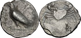 Sicily. Akragas. AR Didrachm, 510.495 BC. D/ [ΑΚΡΑC]ΑΝΤΟΣ. Sea eagle standing left. R/ Crab. SNG ANS 906; HGC 87; Jenkins, Gela, Group Ia, pl. 37, 1; ...