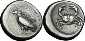 Sicily. Akragas. AR Didrachm, c. 500-495 BC. D/ AKRA. Sea eagle standing left. R/ Crab within shallow incuse circle. Jenkins, Gela, group II, pl. 37,8...