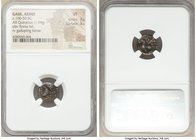 GAUL. Aedui. Ca. 100-50 BC. AR quinarius (13mm, 1.94 gm, 6h). NGC VF 3/5 - 3/5. Helmeted female head (Roma?) left / Horse walking left; fragmentary in...