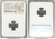 GAUL. Bituriges. Ca. 100-50 BC. AR quinarius (15mm, 1.86 gm, 6h). NGC VF 2/5 - 4/5. Male head left with hair in three large locks / Horse prancing lef...
