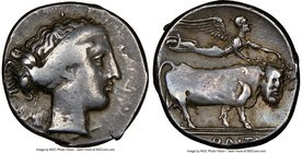 CAMPANIA. Neapolis. Ca. 420-400 BC. AR didrachm or nomos (21mm, 8h). NGC VF. Female head right, wearing broad headband / NEOΠΟΛITHΣ, man-headed bull w...