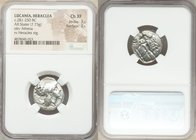 LUCANIA. Heraclea. Ca. 281-250 BC. AR stater (20mm, 7.73 gm, 4h). NGC Choice XF 3/5 - 3/5. ΗΕPΑΚΛΗΙΩ-Ν, head of Athena right, wearing Corinthian helme...