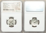 LUCANIA. Metapontum. Ca. 330-280 BC. AR stater (22mm, 7.89 gm, 2h). NGC MS 4/5 - 3/5. Head of Demeter right, crowned with grain; EY below chin / META,...