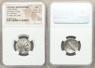 LUCANIA. Metapontum. Ca. 330-280 BC. AR stater (20mm, 7.62 gm, 10h). NGC AU 5/5 - 2/5. Head of Demeter right, wearing barley grain wreath / META, barl...