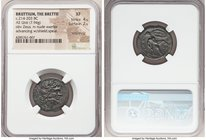 BRUTTIUM. The Brettii. Ca. 214-203 BC. AE unit or drachm (22mm, 7.94 gm, 4h). NGC XF 4/5 - 2/5, smoothing Laureate head of Zeus right; thunderbolt beh...