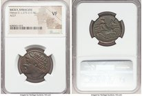 SICILY. Syracuse. Hieron II (ca. 275-215 BC). AE hemilitron (26mm, 5h). NGC VF. Ca. 240-215 BC. Diademed head of Heiron II left; dotted border / IEPΩN...