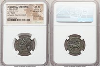 CARTHAGE. Zeugitana. Ca. 221-201 BC. AE (22mm, 8.49 gm, 12h). NGC Choice XF 5/5 - 2/5, smoothing. Second Punic War, ca. 221-210 BC. Head of Tanit left...