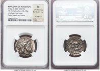 MACEDONIAN KINGDOM. Philip II (359-336 BC). AR tetradrachm (23mm, 14.18 gm, 9h). NGC XF 5/5 - 1/5, test cut. Posthumous issue of Amphipolis, ca. 323/2...