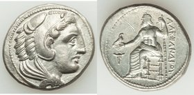 MACEDONIAN KINGDOM. Alexander III the Great (336-323 BC). AR tetradrachm (28mm, 16.97 gm, 6h). XF, graffito. Lifetime issue of uncertain Macedonian mi...