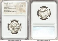 ATTICA. Athens. Ca. 440-404 BC. AR tetradrachm (25mm, 17.21 gm, 6h). NGC MS 4/5 - 4/5. Mid-mass coinage issue. Head of Athena right, wearing crested A...