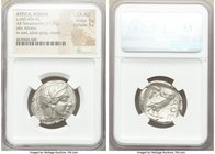 ATTICA. Athens. Ca. 440-404 BC. AR tetradrachm (26mm, 17.17 gm, 1h). NGC Choice AU 5/5 - 5/5. Mid-mass coinage issue. Head of Athena right, wearing cr...