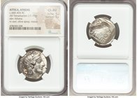 ATTICA. Athens. Ca. 440-404 BC. AR tetradrachm (25mm, 17.19 gm, 7h). NGC Choice AU 5/5 - 5/5. Mid-mass coinage issue. Head of Athena right, wearing cr...