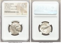 ATTICA. Athens. Ca. 440-404 BC. AR tetradrachm (25mm, 17.21 gm, 1h). NGC Choice AU 5/5 - 4/5. Mid-mass coinage issue. Head of Athena right, wearing cr...