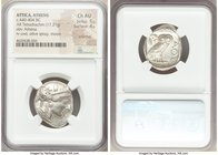 ATTICA. Athens. Ca. 440-404 BC. AR tetradrachm (26mm, 17.21 gm, 7h). NGC Choice AU 5/5 - 4/5, scratches. Mid-mass coinage issue. Head of Athena right,...