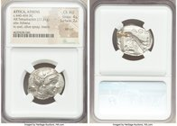 ATTICA. Athens. Ca. 440-404 BC. AR tetradrachm (25mm, 17.21 gm, 3h). NGC Choice AU 4/5 - 2/5, test cut. Mid-mass coinage issue. Head of Athena right, ...