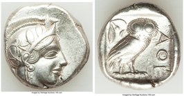 ATTICA. Athens. Ca. 440-404 BC. AR tetradrachm (25mm, 17.11 gm, 1h). Choice VF, brushed. Mid-mass coinage issue. Head of Athena right, wearing crested...