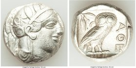 ATTICA. Athens. Ca. 440-404 BC. AR tetradrachm (23mm, 17.13 gm, 8h). VF. Mid-mass coinage issue. Head of Athena right, wearing crested Attic helmet or...
