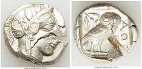 ATTICA. Athens. Ca. 440-404 BC. AR tetradrachm (25mm, 17.10 gm, 4h). Choice VF, test cut. Mid-mass coinage issue. Head of Athena right, wearing creste...