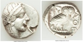 ATTICA. Athens. Ca. 440-404 BC. AR tetradrachm (24mm, 17.05 gm, 4h). VF, test cuts. Mid-mass coinage issue. Head of Athena right, wearing crested Atti...