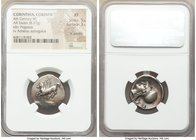 CORINTHIA. Corinth. Ca. 4th century BC. AR stater (22mm, 8.37 gm, 3h). NGC XF 5/5 - 3/5, light graffiti. Ca. 345-307 BC. Pegasus flying left; Ϙ below ...