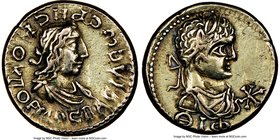 BOSPORAN KINGDOM. Rhescuporis II (AD 211-227), with Severus Alexander. EL stater (19mm, 7.63 gm, 11h). NGC XF 4/5 - 3/5. Dated Bosporan Year 519 (AD 2...