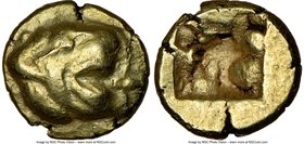 IONIA. Uncertain mint. Ca. 600-550 BC. EL sixth-stater or hecte (11mm, 2.57 gm). NGC AU 4/5 - 5/5. Phocaic standard. Head of lion right, mouth open / ...