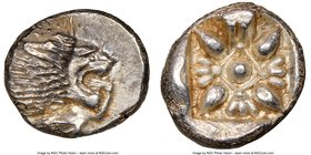 IONIA. Miletus. Ca. late 6th-5th centuries BC. AR obol (10mm, 1.20 gm). NGC MS 4/5 - 5/5. Milesian standard. Forepart of roaring lion left, head rever...