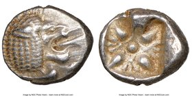 IONIA. Miletus. Ca. late 6th-5th centuries BC. AR obol (10mm). NGC Choice XF. Milesian standard. Forepart of roaring lion left, head reverted / Stella...