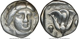 CARIAN ISLANDS. Rhodes. Ca. 340-305 BC. AR didrachm (18mm, 12h). NGC VF. Ca. 340-320 BC. Head of Helios facing, turned slightly right, hair parted in ...