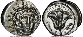 CARIAN ISLANDS. Rhodes. Ca. 250-205 BC. AR didrachm (22mm, 6.79 gm, 12h). NGC MS 4/5 - 4/5. Ca. 225-205 BC, Aristocrates, magistrate. Radiate head of ...