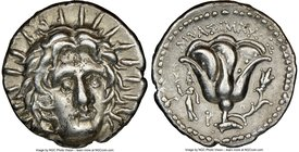 CARIAN ISLANDS. Rhodes. Ca. 250-205 BC. AR didrachm (20mm, 12h). NGC XF. Ca. 250-230 BC, Mnasimaxus, magistrate. Radiate head of Helios facing, turned...