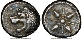 CARIAN SATRAPS. Hecatomnus (ca. 395/1-377 BC). AR drachm (16mm). NGC VF. Head of roaring male lion left, extended foreleg below; EKA above / Stellate ...