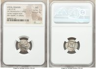 LYCIAN LEAGUE. Cragus. Ca. 48-20 BC. AR hemidrachm (16mm, 1.89 gm, 1h). NGC MS 5/5 - 4/5. Series 1. Laureate head of Apollo right; Λ-Y below / K-P, ci...