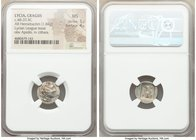 LYCIAN LEAGUE. Cragus. Ca. 48-20 BC. AR hemidrachm (14mm, 1.84 gm, 12h). NGC MS 5/5 - 4/5. Series 1. Laureate head of Apollo right; Λ-Y below / K-P, c...