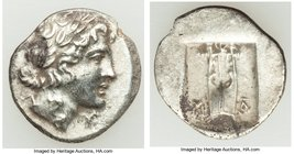 LYCIAN LEAGUE. Masicytes. Ca. 48-20 BC. AR hemidrachm (15mm, 1.78 gm, 12h). About XF. Series 1. Laureate head of Apollo right; Λ-Y below / M-A, cithar...