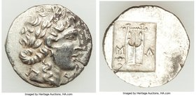 LYCIAN LEAGUE. Masicytes. Ca. 48-20 BC. AR hemidrachm (16mm, 2.01 gm, 12h). About XF, flan crack. Series 1. Laureate head of Apollo right; Λ-Y below /...