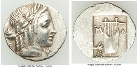 LYCIAN LEAGUE. Masicytes. Ca. 48-20 BC. AR hemidrachm (16mm, 1.69 gm, 12h). Choice VF. Series 5. Laureate head of Apollo right; Λ-Y below / M-A, citha...