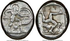PAMPHYLIA. Aspendus. Ca. mid-5th century BC. AR stater (20mm, 11h). NGC VF. Helmeted nude hoplite warrior advancing right, shield in left hand, spear ...