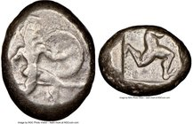 PAMPHYLIA. Aspendus. Ca. mid-5th century BC. AR stater (20mm, 9h). NGC Choice Fine. Helmeted nude hoplite warrior advancing right, shield in left hand...