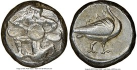 CILICIA. Mallus. Ca. 440-385 BC. AR stater (19mm, 2h). NGC VF. Bearded male, winged, in kneeling/running stance left, holding solar disk with both han...