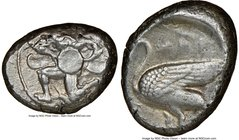 CILICIA. Mallus. Ca. 440-385 BC. AR stater (22mm, 8h). NGC VF. Bearded male, winged, in kneeling/running stance left, holding solar disk with both han...