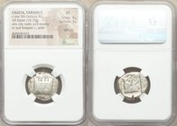 CILICIA. Tarsus (?). Ca. late 5th century BC. AR stater (21mm, 10.75 gm, 9h). NGC VF 4/5 - 3/5, test cut. Side-view of fortified city walls with three...