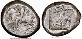 CILICIA. Tarsus. Ca. late 5th century BC. AR stater (20mm, 10.87 gm, 6h). NGC XF 4/5 - 5/5. Satrap on horseback riding left, reins in left hand, lotus...