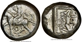 CILICIA. Tarsus. Ca. late 5th century BC. AR stater (19mm, 3h). NGC VF. Satrap on horseback riding left, reins in left hand, lotus upward in right; ea...
