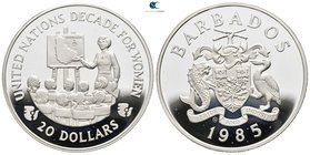 Barbados.  AD 1985-1985. Decade for Women. 20 Dollars