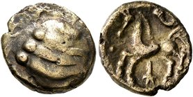 CELTIC, Northeast Gaul. Leuci. Late 2nd to mid 1st century BC. Quarter Stater (Electrum, 12 mm, 1.28 g). Stylized head. Rev. Horse springing left; bel...