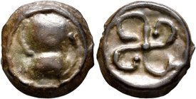 CELTIC, Central Gaul. Bituriges Cubi. Circa 50-30 BC. AE (Potin, 15 mm, 2.78 g). Stylized helmeted head to right. Rev. Cross with curved arms. DT 3502...