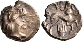 CELTIC, Central Gaul. Pictones. Circa 100-50 BC. Quarter Stater (Electrum, 13 mm, 1.24 g, 4 h), 'profil de type armoricain' type. Celticized male head...