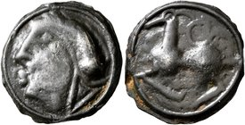CELTIC, Central Gaul. Sequani. Circa 100-50 BC. Cast unit (Potin, 18 mm, 3.31 g, 10 h). Celticized male head to left. Rev. Horned horse to left, with ...