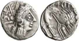 CELTIC, Southern Gaul. Insubres. 2nd century BC. Tetrobol (Silver, 14 mm, 2.00 g, 11 h), imitating Massalia. Female head to right, wearing triple-pend...